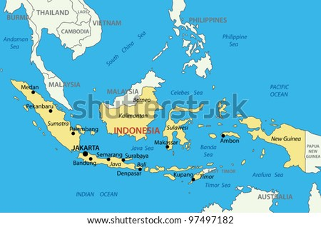 Republic of Indonesia - vector map - stock vector