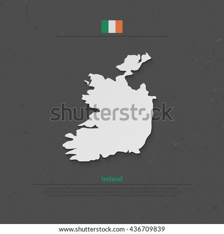 Republic of Ireland isolated map and official flag icons. vector Irish political map 3d illustration over paper texture. EU geographic banner template. travel and business concept map - stock vector
