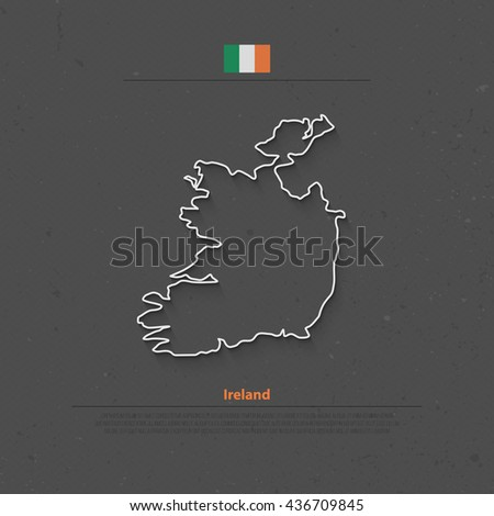 Republic of Ireland isolated map and official flag icons. vector Irish political map thin line icon over grunge background. EU geographic banner template. travel and business concept map - stock vector