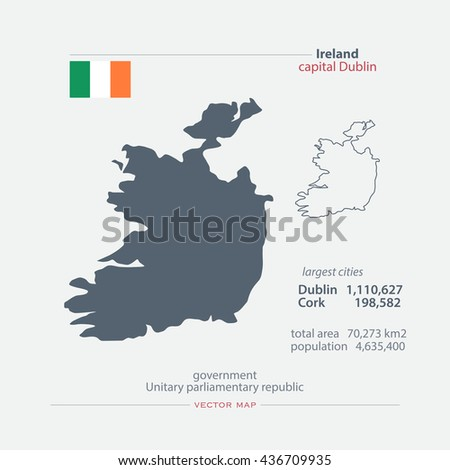 Republic of Ireland isolated maps and official flag icon. vector Irish political map icons with general information. EU geographic banner template. travel and business concept map - stock vector