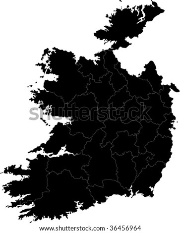 Republic of Ireland map with region borders - stock vector