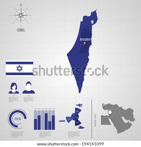 Republic of ISRAEL. flag. Asia. World Map. Travel vector Illustration - stock vector