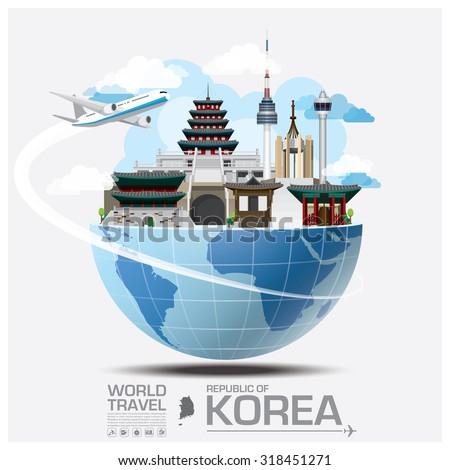 Republic Of Korea Landmark Global Travel And Journey Infographic Vector Design Template - stock vector