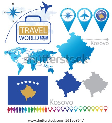 Kosovo Map In World. Republic of Kosovo  flag World Map Travel vector Illustration Flag Stock Vector 161509547