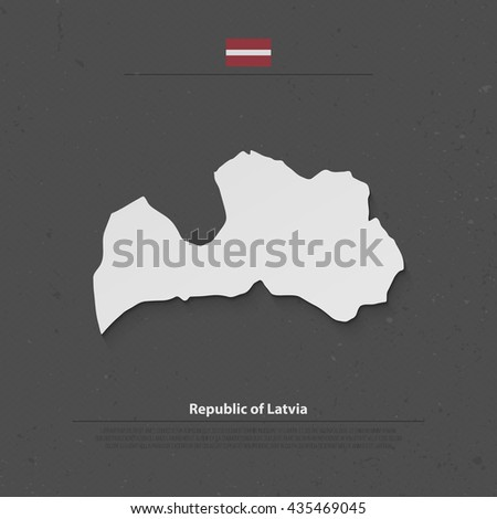 Republic of Latvia isolated map and official flag icons. vector Latvian political map 3d illustration over grunge background. Baltic State geographic banner template - stock vector