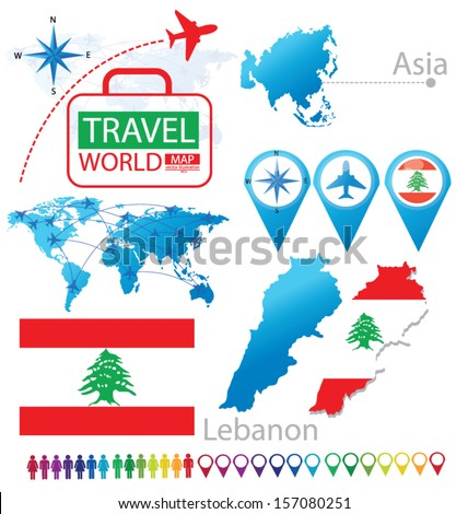 Republic of Lebanon. flag. Asia. World Map. Travel vector Illustration. - stock vector