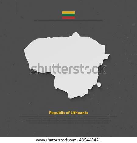 Republic of Lithuania isolated map and official flag icons. vector Lithuanian political map 3d illustration over grunge background. Northern Europe State geographic banner template - stock vector