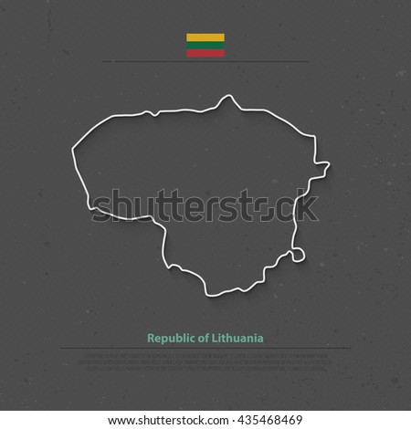 Republic of Lithuania isolated map and official flag icons. vector Lithuanian political map thin line icon over grunge background. Northern Europe State geographic banner template - stock vector