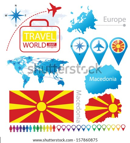 Republic of Macedonia. flag. World Map. Travel vector Illustration. - stock vector