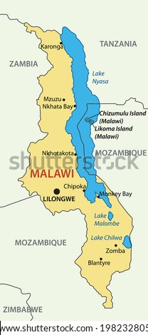 Republic of Malawi - vector map - stock vector
