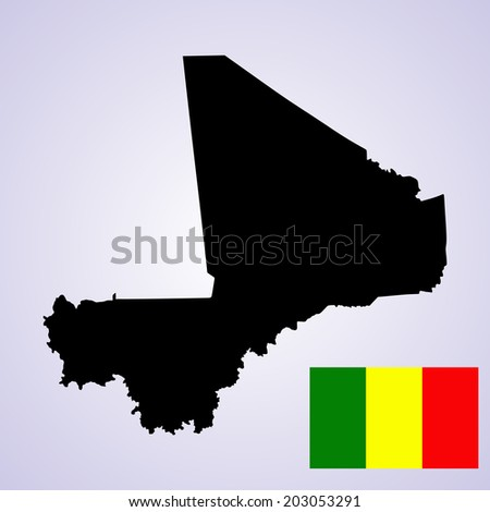 Republic of Mali vector map and vector flag isolated on white background silhouette. High detailed illustration. - stock vector