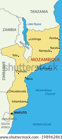 Republic of Mozambique - vector map - stock vector
