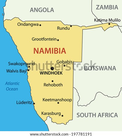 Republic of Namibia - vector map - stock vector