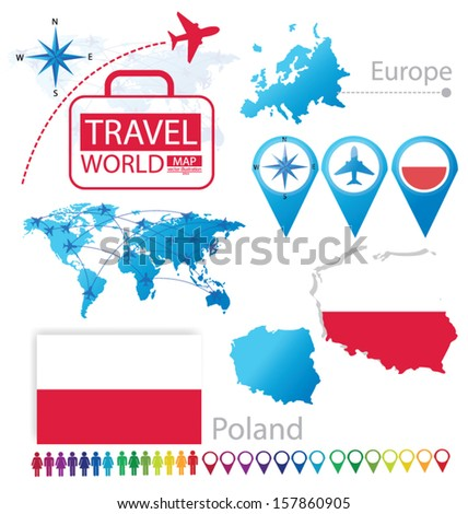 Republic of Poland. flag. World Map. Travel vector Illustration.