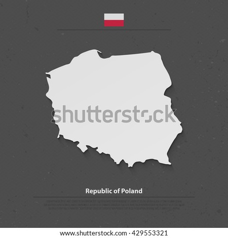 Republic of Poland isolated map and official flag icons. vector Polish political map 3d illustration. European country geographic banner template. Poland maps. Central Europe vector map - stock vector