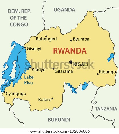 Republic of Rwanda - vector map - stock vector