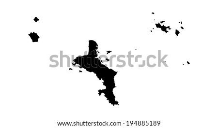 Republic of Seychelles  vector map high detailed silhouette illustration isolated on white background. - stock vector