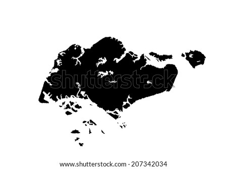 Republic Singapore Vector Map Isolated On Stock Vector - Singapore map vector