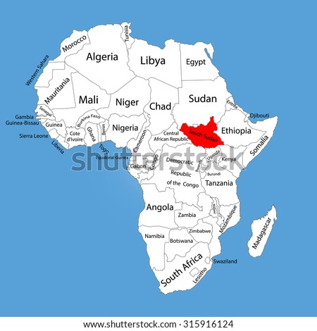 Republic South Sudan Vector Map Silhouette Stock Vector - Republic of the sudan map