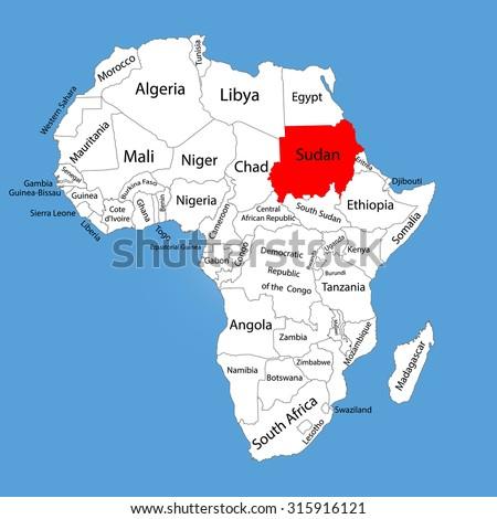 Republic Sudan Vector Map Silhouette Isolated Stock Vector 315916121
