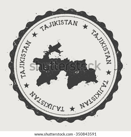 Republic of Tajikistan. Hipster round rubber stamp with Tajikistan map. Vintage passport stamp with circular text and stars, vector illustration - stock vector