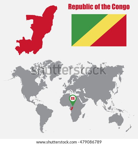 Republic of the Congo map on a world map with flag and map pointer. Vector illustration