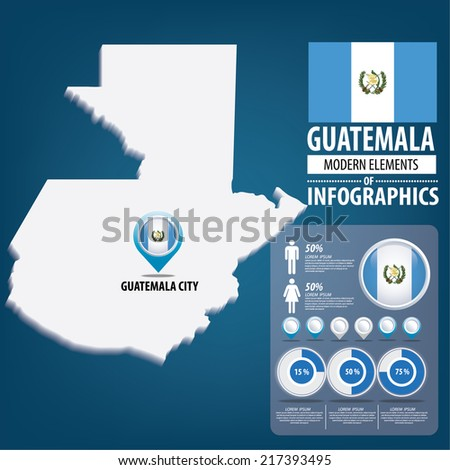 Republic of the Guatemala. flag. Travel vector Illustration. infographic world travel - stock vector