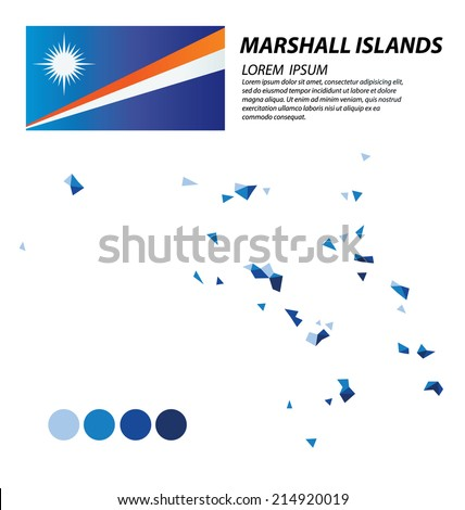 Republic of the Marshall Islands geometric concept design - stock vector