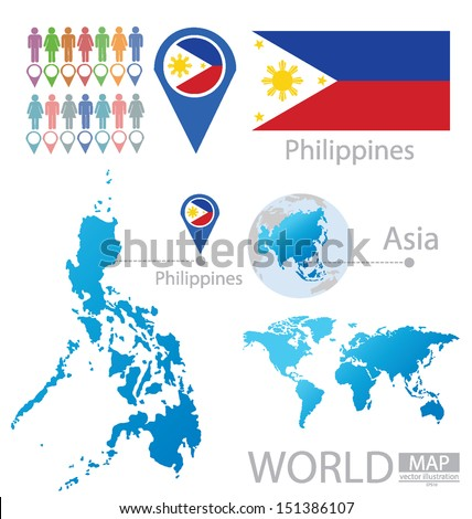 Republic philippines flag asia world map stock vector hd royalty republic of the philippines flag asia world map vector illustration gumiabroncs Images