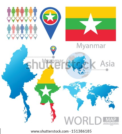 Republic of the Union of Myanmar. flag. Asia. World Map. vector Illustration. - stock vector