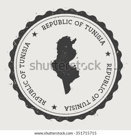 Republic of Tunisia. Hipster round rubber stamp with Tunisia map. Vintage passport stamp with circular text and stars, vector illustration - stock vector