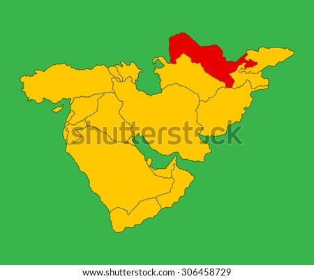 Republic of Uzbekistan vector map silhouette illustration isolated on Middle east vector map. - stock vector