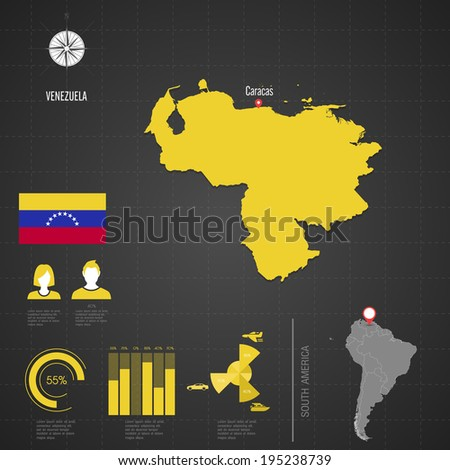 Republic of VENEZUELA. flag. World Map. Travel vector Illustration.
