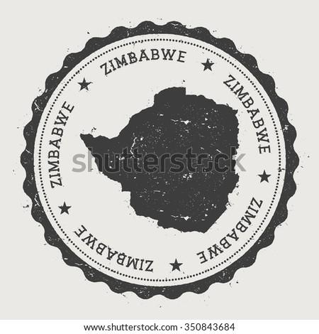 Republic Zimbabwe Hipster Round Rubber Stamp Stock Vector - Republic of zimbabwe map