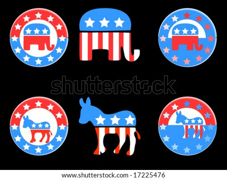 Republican and Democratic party buttons / pinbacks - stock vector