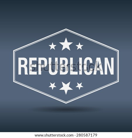 republican hexagonal white vintage retro style label - stock vector