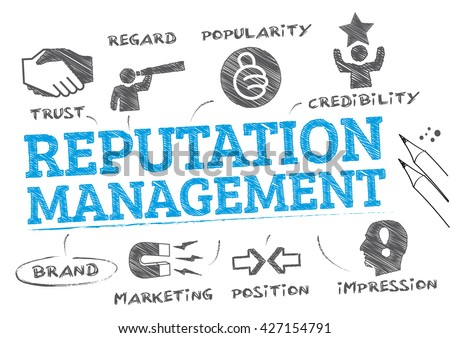 Reputation management. Chart with keywords and icons - stock vector