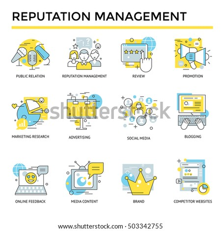Reputation management concept icons, thin line, flat design