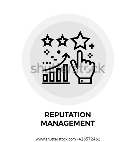 Reputation Management icon vector. Flat icon isolated on the white background. Editable EPS file. Vector illustration. - stock vector