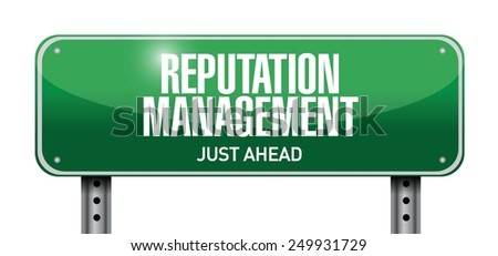reputation management road sign illustration design over a white background - stock vector