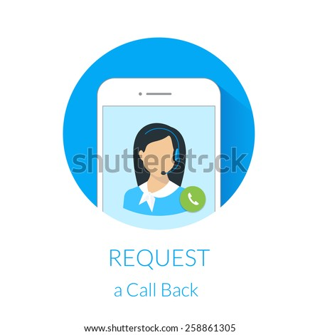Request a call back webform design with call center operator and smartphone. Text is outlined. Free font Lato - stock vector