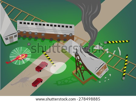 Rescue Operation in a Train Accident Wreckage concept. Editable EPS10 Illustration. - stock vector