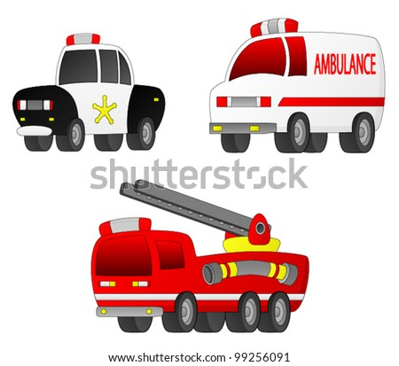 Rescue Vehicles A set of 3 Rescue Vehicles (Fire Engine, Ambulance, Police Car). - stock vector