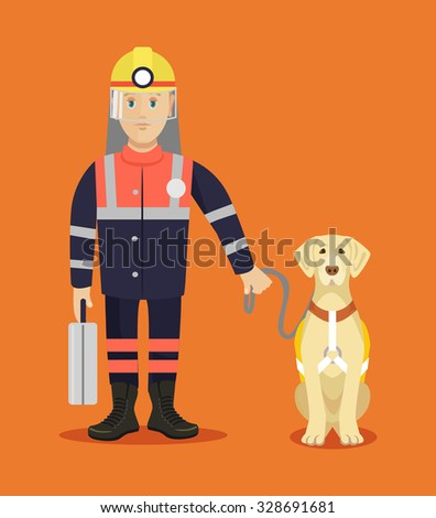 Rescuer with dog. Vector flat illustration - stock vector
