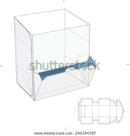 Resealable Dispenser Box with Die Cut Template - stock vector