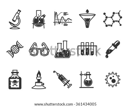Research and Science icons set // Black & White - stock vector