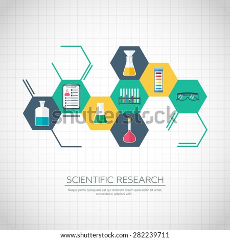 Research concept. Chemical banner, background, cover. Chemical icons. Flat design. vector illustration - stock vector