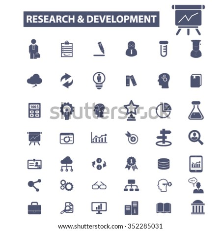 research, development, plan, brainstorm icons, signs vector concept set for infographics, mobile, website, application  - stock vector