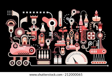 Research laboratory - isolated vector illustration on black background. Pharmaceutic industry. - stock vector