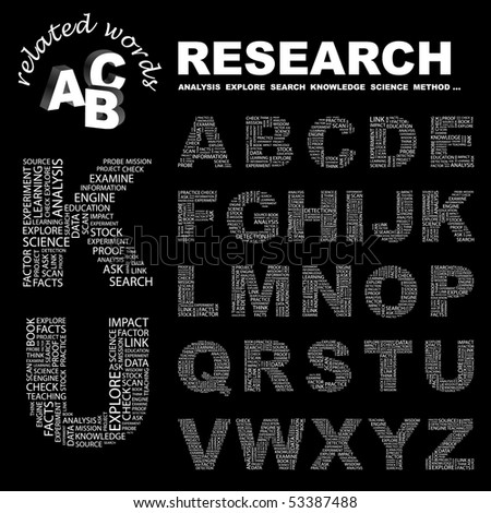 RESEARCH. Vector letter collection. Wordcloud illustration.